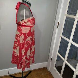 bebe Dresses - Bebe red/white silk ribbon halter dress, Sz M